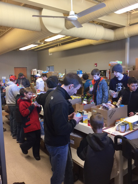 Community Outreach: Boy Scouts Food Drive Assembly Crew!